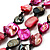 3 Strand Black & Magenta Shell - Composite Bead Necklace - view 2