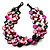3 Strand Black & Magenta Shell - Composite Bead Necklace
