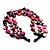 3 Strand Black & Magenta Shell - Composite Bead Necklace - view 5