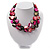3 Strand Black & Magenta Shell - Composite Bead Necklace - view 8