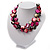 3 Strand Black & Magenta Shell - Composite Bead Necklace - view 9