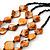 3 Strand Orange & Black Shell - Composite Bead Necklace - 40cm Length - view 2
