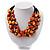 3 Strand Orange & Black Shell - Composite Bead Necklace - 40cm Length - view 6