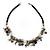 Antique Silver Tone Charm Leather Style Necklace - 38cm