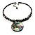Jet Black Glass, Shell & Mother of Pearl Medallion Choker Necklace (Silver Tone) - view 5