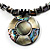 Jet Black Glass, Shell & Mother of Pearl Medallion Choker Necklace (Silver Tone) - view 2