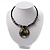 Jet Black Glass, Shell & Mother of Pearl Medallion Choker Necklace (Silver Tone) - view 3