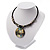 Jet Black Glass, Shell & Mother of Pearl Medallion Choker Necklace (Silver Tone) - view 10