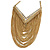Gold Plated Chic Multi Chain Crystal Bib Necklace