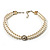 2 Strand Imitation Pearl Wedding Choker Necklace (Snow White, Silver Tone) - view 2