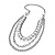 Long Multi Strand Imitation Pearl Necklace (Silver Tone) - 100cm - view 2