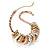 3-Tone Metal Mesh Ring Choker Necklace (Gold, Silver & Copper Tone) - 32cm Length - view 2