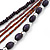 Long Handmade Style Deep Purple Wood, Glass Bead Necklace In Silver Tone Finish - 82cm Length/ 8cm Extension - view 3
