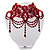 Stunning Hot Red Wide Beaded Choker (Silver Tone Metal) - view 2