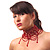 Stunning Hot Red Wide Beaded Choker (Silver Tone Metal) - view 3