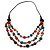 3 Strand Multicoloured Bead Leather Cord Necklace - 80cm - view 8