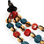 3 Strand Multicoloured Bead Leather Cord Necklace - 80cm - view 4