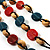 3 Strand Multicoloured Bead Leather Cord Necklace - 80cm - view 5