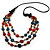 3 Strand Multicoloured Bead Leather Cord Necklace - 80cm - view 2