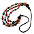 3 Strand Multicoloured Bead Leather Cord Necklace - 80cm - view 3