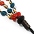 3 Strand Multicoloured Bead Leather Cord Necklace - 80cm - view 6