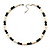Light Cream Freshwater Pearl Necklace With Crystal Rings & Black Glass Beads (7mm) - view 6