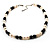 Light Cream Freshwater Pearl Necklace With Crystal Rings & Black Glass Beads (7mm) - view 7