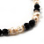 Light Cream Freshwater Pearl Necklace With Crystal Rings & Black Glass Beads (7mm) - view 4