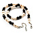 Light Cream Freshwater Pearl Necklace With Crystal Rings & Black Glass Beads (7mm) - view 3