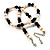 Light Cream Freshwater Pearl Necklace With Crystal Rings & Black Glass Beads (7mm) - view 5