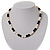 Light Cream Freshwater Pearl Necklace With Crystal Rings & Black Glass Beads (7mm) - view 2