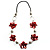Red Shell Floral Leather Cord Long Necklace -78cm Length - view 3