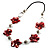 Red Shell Floral Leather Cord Long Necklace -78cm Length - view 7
