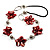 Red Shell Floral Leather Cord Long Necklace -78cm Length - view 6