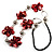 Red Shell Floral Leather Cord Long Necklace -78cm Length - view 8