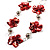 Red Shell Floral Leather Cord Long Necklace -78cm Length - view 4