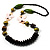 Long Wood Butterfly Necklace (Brown & Green, White) - view 2