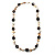 Antique White Shell Composite, Wood Ring & Metal Wire Bead Long Necklace - 84cm Length - view 5