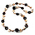 Antique White Shell Composite, Wood Ring & Metal Wire Bead Long Necklace - 84cm Length