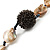 Antique White Shell Composite, Wood Ring & Metal Wire Bead Long Necklace - 84cm Length - view 8