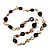 Antique White Shell Composite, Wood Ring & Metal Wire Bead Long Necklace - 84cm Length - view 4