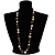 Antique White Shell Composite, Wood Ring & Metal Wire Bead Long Necklace - 84cm Length - view 2