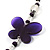 Long Romantic Butterfly Bead Necklace - 88cm Length - view 3