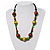 Olive Green & Brown Wood Bead Cord Necklace - 56cm
