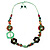 Multicoloured Floral Bead Cotton Cord Long Necklace -  70cm L - view 8