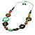 Multicoloured Floral Bead Cotton Cord Long Necklace -  70cm L - view 6