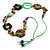 Multicoloured Floral Bead Cotton Cord Long Necklace -  70cm L - view 4