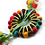 Multicoloured Floral Bead Cotton Cord Long Necklace -  70cm L - view 3
