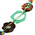 Multicoloured Floral Bead Cotton Cord Long Necklace -  70cm L - view 5