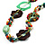 Multicoloured Floral Bead Cotton Cord Long Necklace -  70cm L - view 2